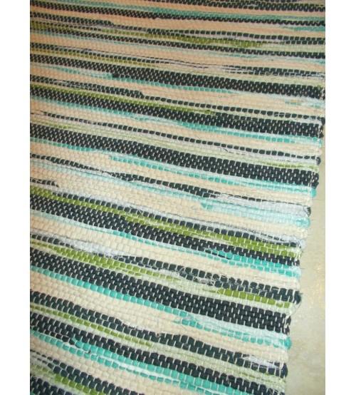 Vászon rongyszőnyeg szürke, nyers, zöld 70 x 150 cm