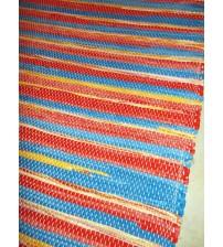 Vászon rongyszőnyeg piros, kék, sárga 70 x 150 cm