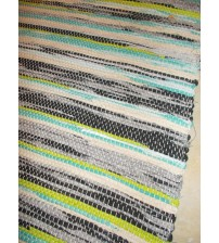 Vászon rongyszőnyeg szürke, zöld, nyers 70 x 150 cm