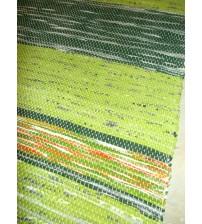 Vászon rongyszőnyeg zöld 70 x 150 cm