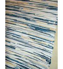 Vászon rongyszőnyeg kék, fehér, barna 70 x 200 cm