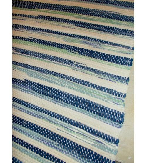 Vászon rongyszőnyeg kék, zöld, nyers 70 x 200 cm
