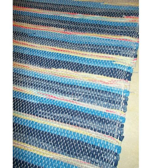 Vászon rongyszőnyeg kék, zöld, piros 70 x 200 cm