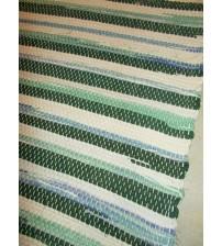 Vászon rongyszőnyeg zöld, nyers, kék 70 x 200 cm