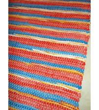 Vászon rongyszőnyeg piros, kék, sárga 70 x 200 cm