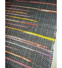 Vászon rongyszőnyeg szürke, piros, sárga 70 x 200 cm