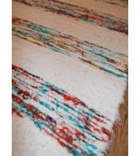 Bolyhos rongyszőnyeg fehér, piros, kék 75 x 150 cm