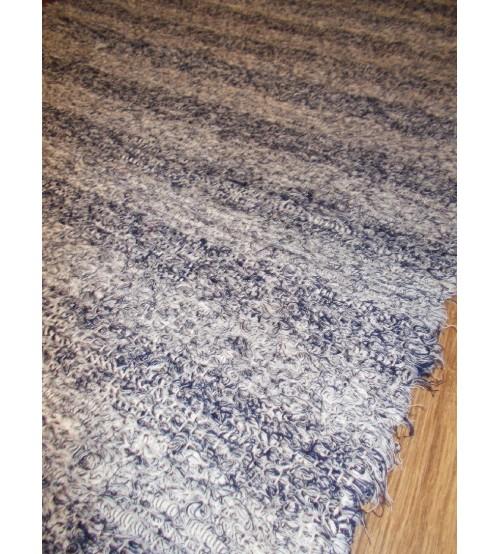 Bolyhos rongyszőnyeg kék szürke 70 x 150 cm