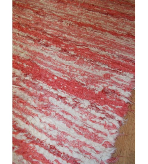Bolyhos rongyszőnyeg nyers, piros 70 x 150 cm