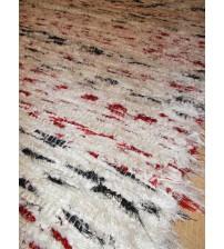 Bolyhos rongyszőnyeg fehér, piros, fekete 75 x 110 cm