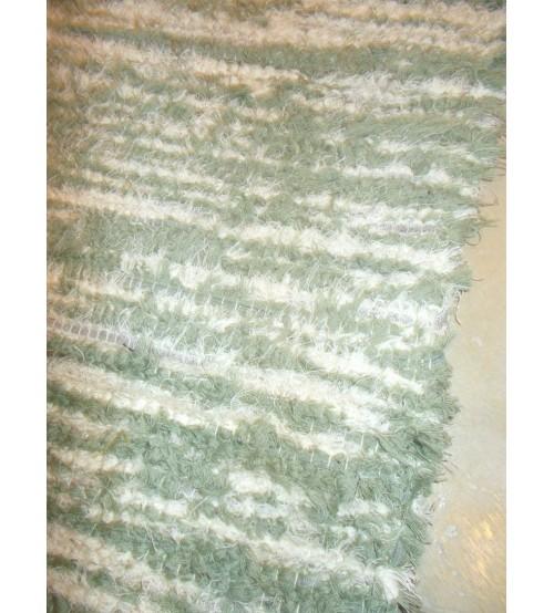 Bolyhos rongyszőnyeg zöld, nyers 50 x 95 cm