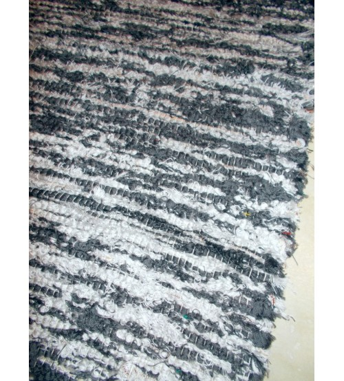 Bolyhos rongyszőnyeg szürke 75 x 200 cm