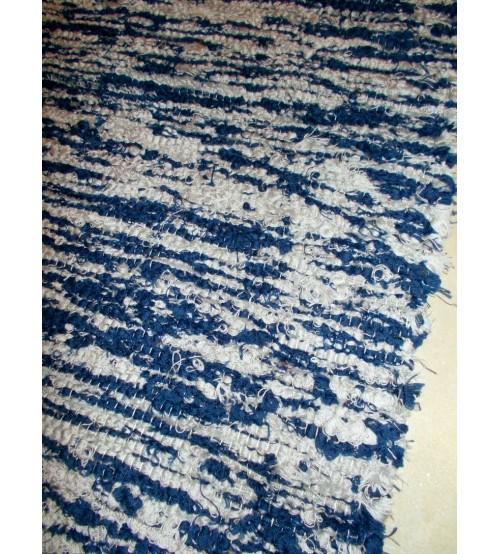 Bolyhos rongyszőnyeg kék, szürke 75 x 100 cm