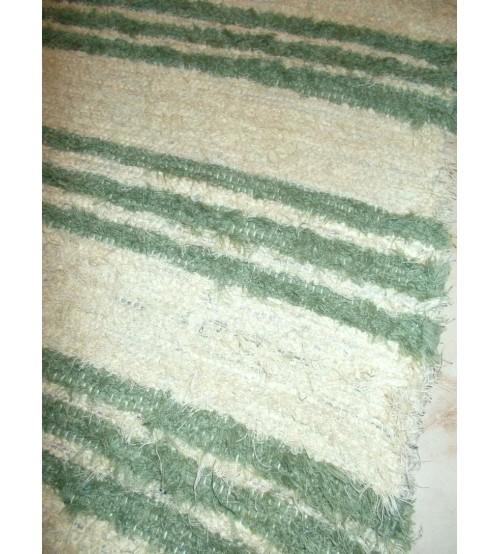 Bolyhos rongyszőnyeg nyers, zöld 85 x 185 cm