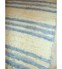 Bolyhos rongyszőnyeg nyers, kék 80 x 140 cm