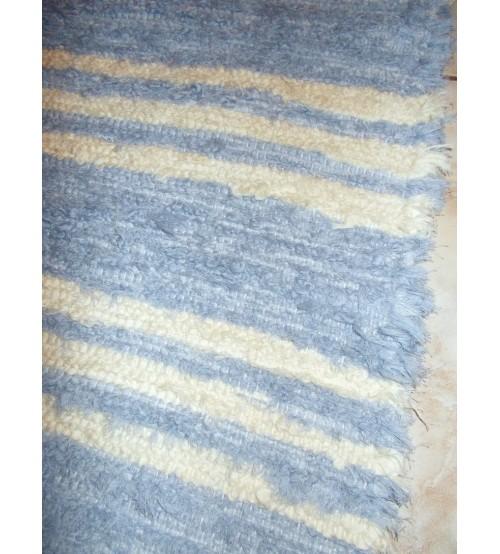 Bolyhos rongyszőnyeg kék, nyers 80 x 100 cm