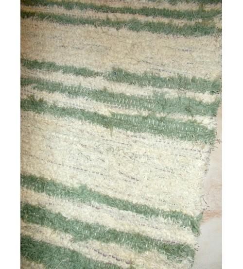 Bolyhos rongyszőnyeg nyers, zöld 85 x 175 cm