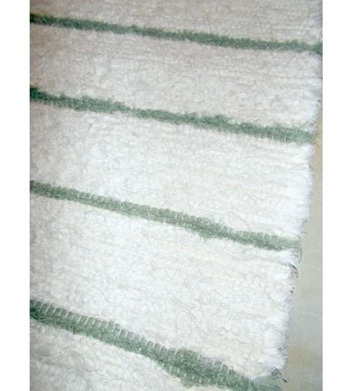 Bolyhos rongyszőnyeg fehér, zöld 85 x 155 cm