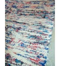 Bolyhos rongyszőnyeg nyers, kék, piros 70 x 100 cm