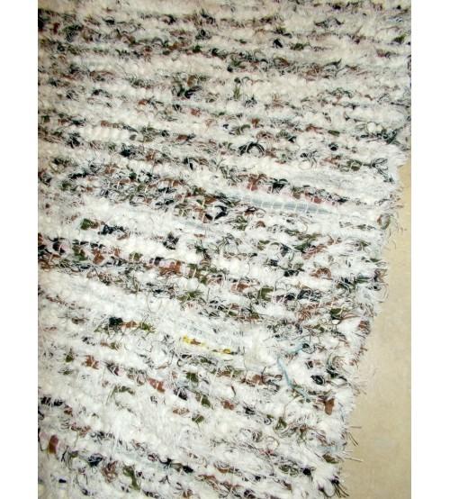 Bolyhos rongyszőnyeg nyers, barna, zöld 75 x 150 cm