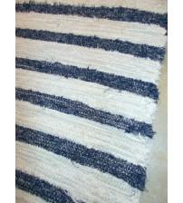 Bolyhos rongyszőnyeg nyers, kék 60 x 135 cm