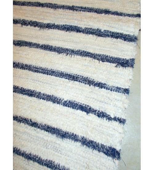Bolyhos rongyszőnyeg nyers, kék 60 x 150 cm