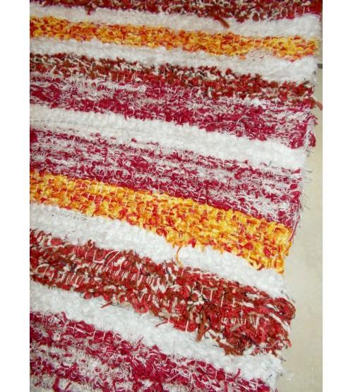 Bolyhos rongyszőnyeg bordó, fehér, sárga 75 x 100 cm