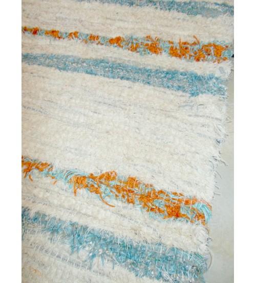 Bolyhos rongyszőnyeg nyers, kék, sárga 75 x 100 cm