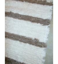 Bolyhos rongyszőnyeg fehér, barna 85 x 150 cm