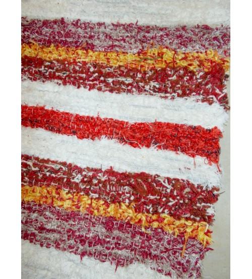 Bolyhos rongyszőnyeg fehér, sárga, bordó 75 x 150 cm