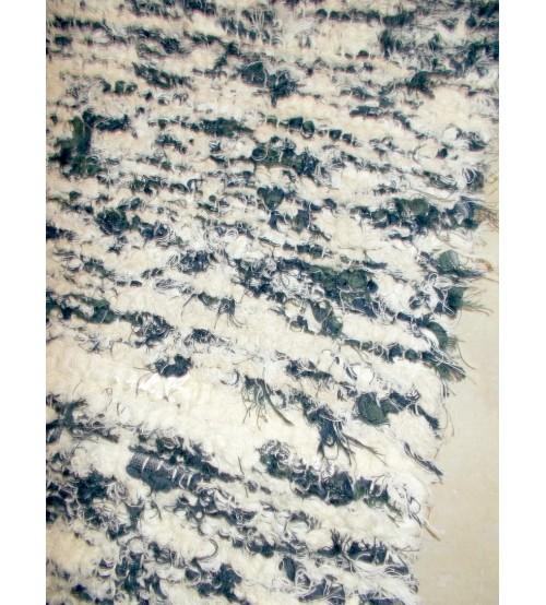 Bolyhos rongyszőnyeg nyers, kék, zöld 75 x 100 cm