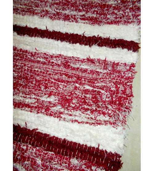 Bolyhos rongyszőnyeg bordó, fehér 75 x 200 cm
