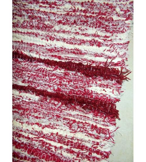 Bolyhos rongyszőnyeg bordó, nyers 75 x 200 cm