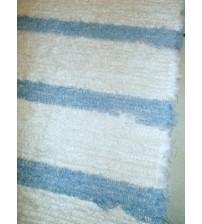 Bolyhos rongyszőnyeg nyers, kék 65 x 190 cm