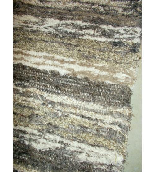 Bolyhos rongyszőnyeg barna, nyers 70 x 150 cm