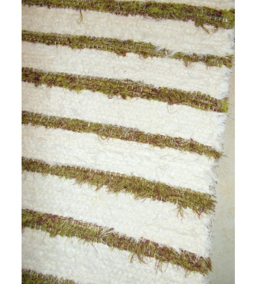 Bolyhos rongyszőnyeg nyers, zöld, bordó 85 x 245 cm