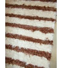 Bolyhos rongyszőnyeg nyers, barna 80 x 180 cm