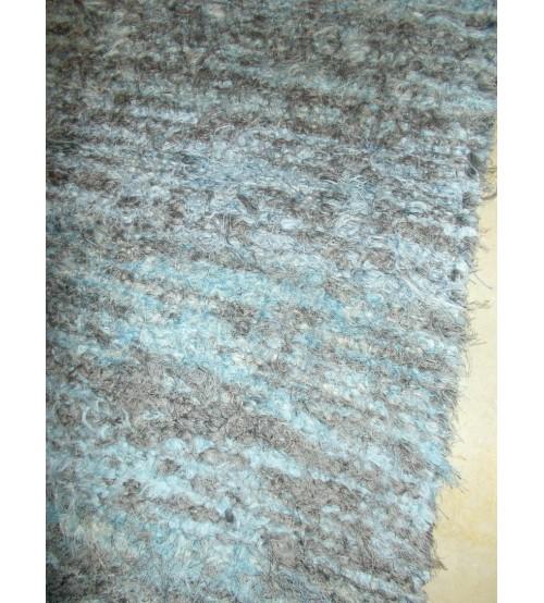 Bolyhos rongyszőnyeg kék, szürke 70 x 150 cm