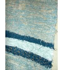Bolyhos rongyszőnyeg kék 75 x 150 cm