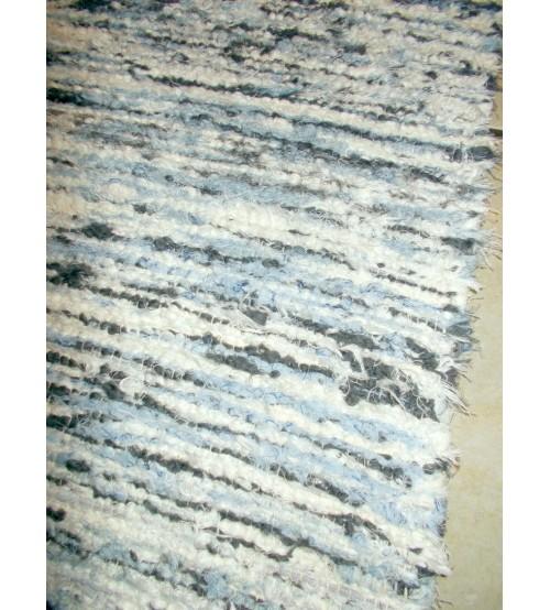 Bolyhos rongyszőnyeg kék, szürke, nyers 70 x 200 cm