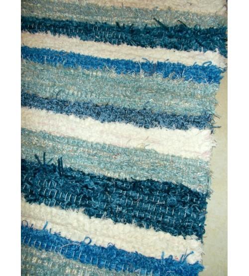 Bolyhos rongyszőnyeg kék, nyers 75 x 200 cm