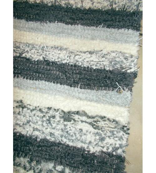 Bolyhos rongyszőnyeg szürke, nyers 75 x 200 cm