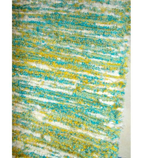 Bolyhos rongyszőnyeg kék, sárga, nyers 80 x 125 cm