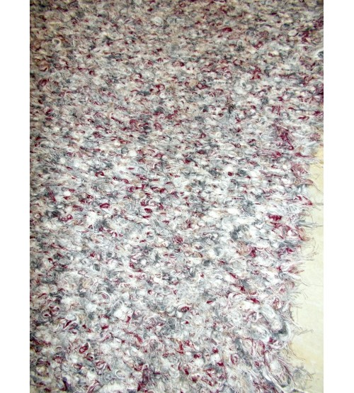 Bolyhos rongyszőnyeg szürke, bordó 55 x 135 cm
