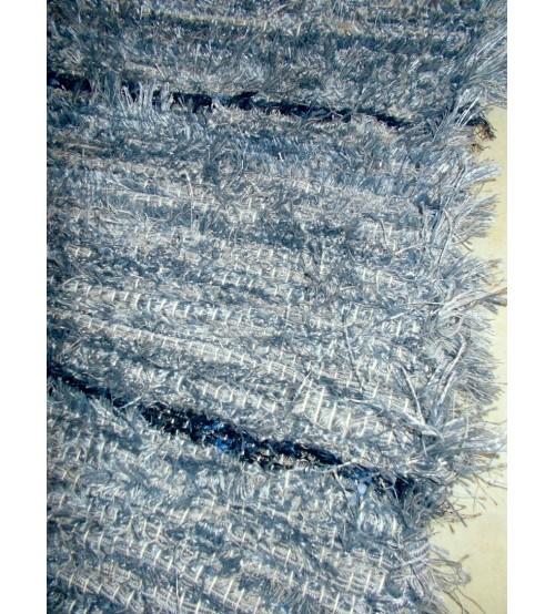 Bolyhos rongyszőnyeg kék 70 x 80 cm
