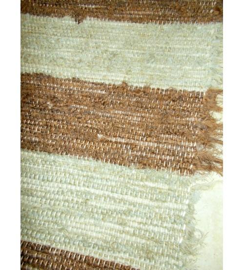 Bolyhos rongyszőnyeg zöld, barna 70 x 155 cm
