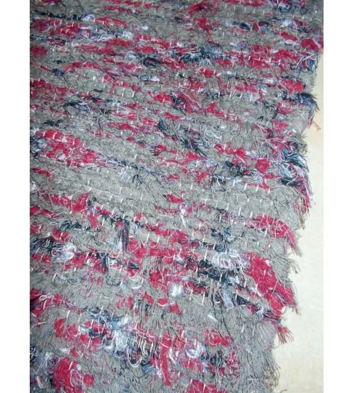 Bolyhos rongyszőnyeg szürke, bordó 50 x 150 cm