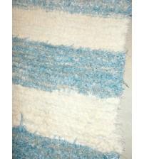 Bolyhos rongyszőnyeg kék, nyers 50 x 105 cm