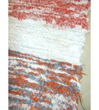 Bolyhos rongyszőnyeg piros, fehér, kék 50 x 100 cm