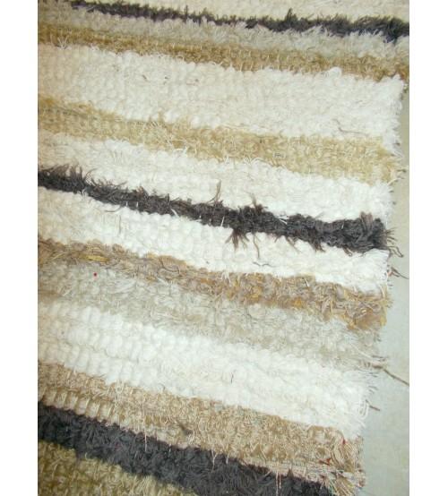 Bolyhos rongyszőnyeg barna, nyers 55 x 100 cm